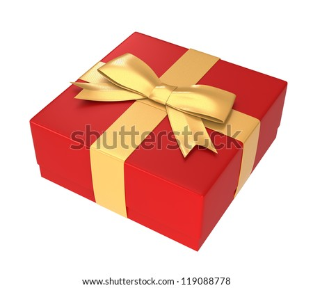 red gift box wrapped with golden ribbon