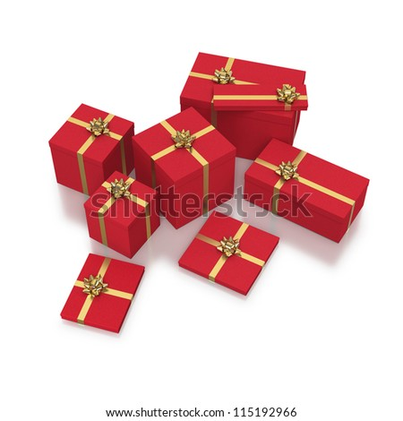 Red gift boxes with gold ribbons in composition on white background