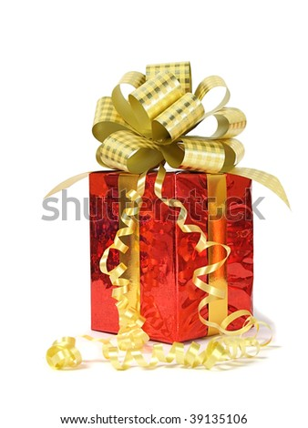 Red gift over white - stock photo