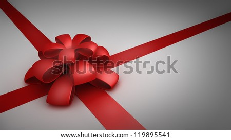 Red gift ribbon bow background. card with free space. High resolution 3d render
