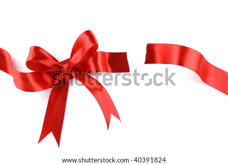 Red Gift Ribbon Bow cut into two parts  on White background. - stock photo