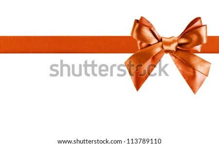 Red Gift Ribbon Bow in Horizontal Placement Over White Background