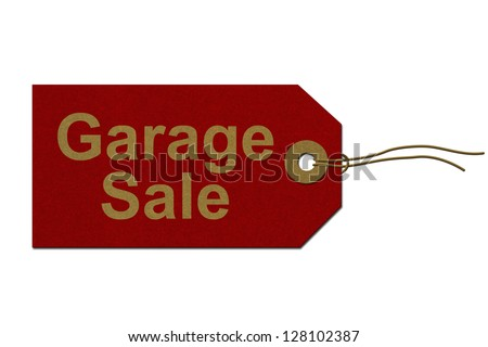 Red Gift Tag with words Garage Sale in Gold isolated on white, Garage Sale Tag