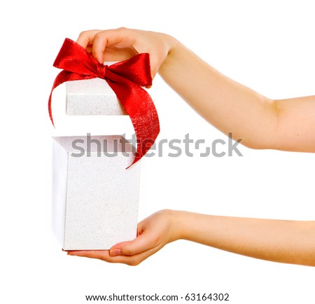 red gift with female hands isolated on white background