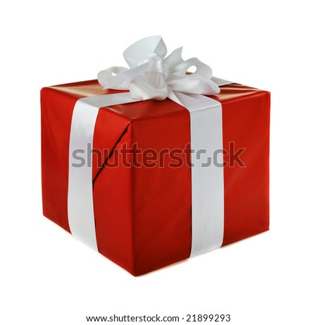 red gift with white satin  bow isolated on white background