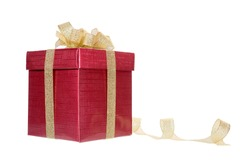 red giftbox isolated on white background