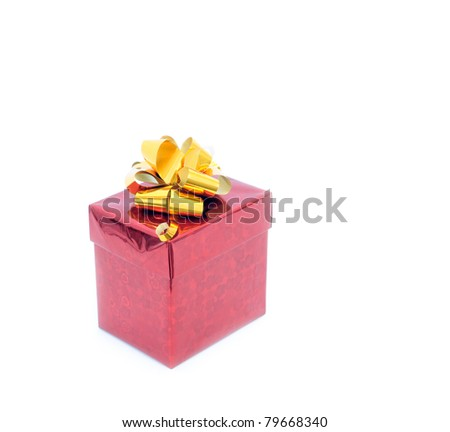 red giftbox isolated on white with clipping path