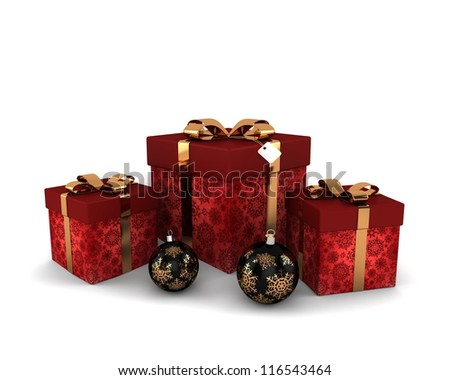 Red gifts with gold decorative bow and decorations for the Christmas tree with golden snowflakes on it isolated white background