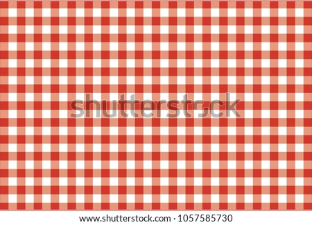 Red Gingham seamless pattern. Texture from rhombus/squares for - plaid, tablecloths, clothes, shirts, dresses, paper, bedding, blankets, quilts and other textile products. Vector illustration. #1057585730