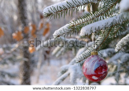 Red glass ball Christmas tree ornament on snow covered evergreen in forest