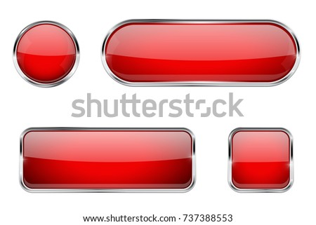 Red glass buttons with chrome frame. 3d illustration isolated on white background. Raster version