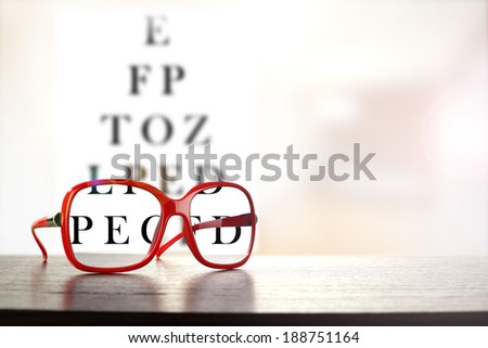 red glasses and dark desk with black text