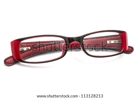 Red glasses isolated on white background