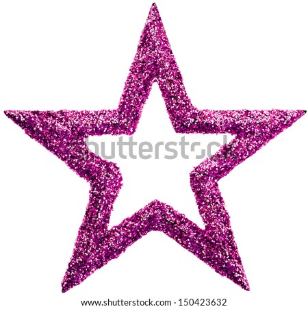 Red Glitter Christmas star isolated on white background