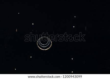 Red glitter vintage lights background defocused night dark hamburg #1200943099