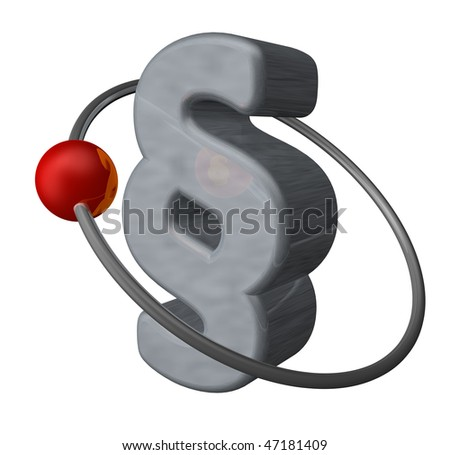 red globe fly around a paragraph symbol - 3d illustration