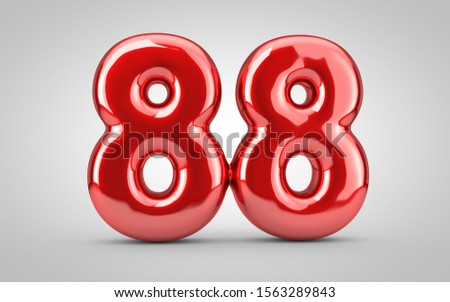 Red glossy balloon number 88 isolated on white background. 3D rendered illustration. Best for anniversary, birthday, new year celebration.