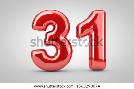 Red glossy balloon number 31 isolated on white background. 3D rendered illustration. Best for anniversary, birthday, new year celebration. Zdjęcia stock ©