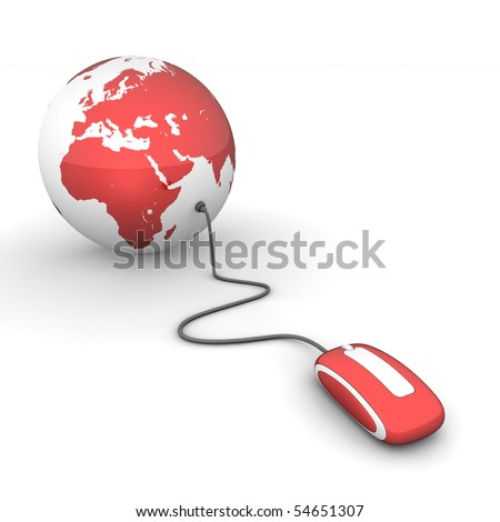 red glossy computer mouse connected to a red glossy globe