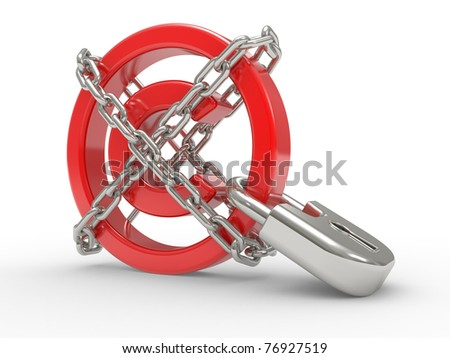 red glossy copyright sign and chains  on a white background