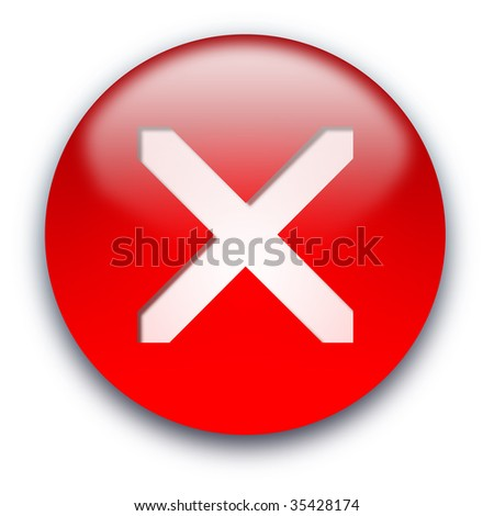 Red glossy crossed inside button isolated over white background