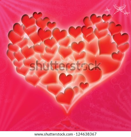 Red glossy heart a colored background