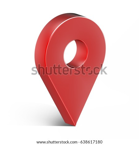 Red glossy map pin with shadow. concept of tagging, center, landmark badge, tip, trip, needle, route build, locate. Isolated on white background. 3D illustration, 3D rendering