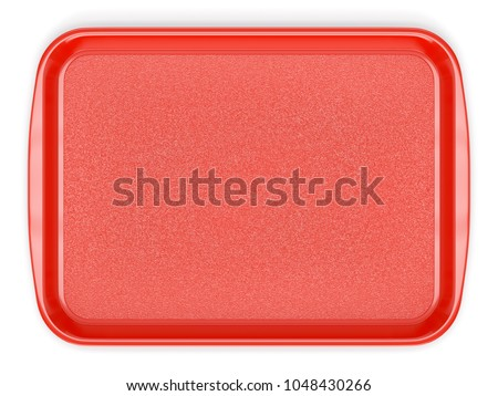 Red glossy plastic food tray isolated on white background. Top view. 3D illustration