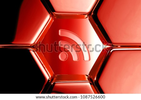 Red Glossy Rss Feed Icon in the Metalic Honeycomb. 3D Illustration of Red Blog, Feed, News, Rss Icons on Geometric Hexagon Pattern.
