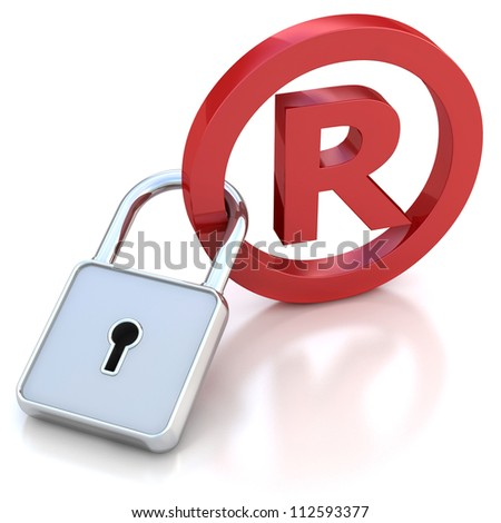 red glossy Trademark sign with padlock on a white background - stock photo