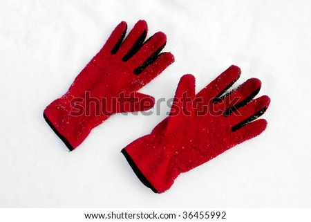 Red gloves on snow
