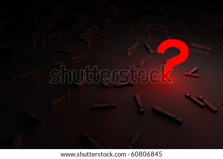 red glow question sign