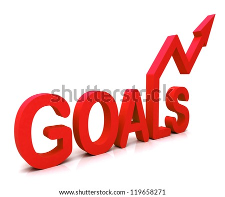Red Goals Word Showing Objectives Hope Aiming Mission And Future