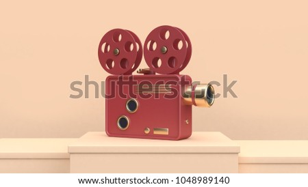 red gold cinema projector cream scene 3d rendering technology concept
