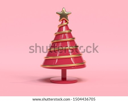 red gold tree christmas holiday decoration element 3d rendering