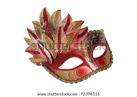 Red-gold Venetian mask isolated on white