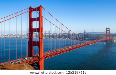 Red Golden Gate bridge over Pacific Ocean: Golden Gate Bridge, San Francisco, CA, USA #1252189618