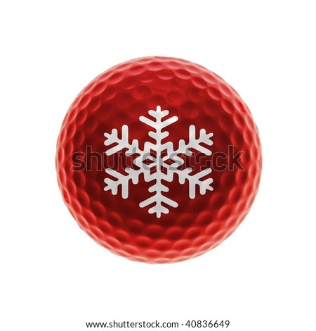 Red golf ball with snow crystal
