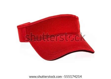 Shutterstock Red golf visor for man or woman on white background