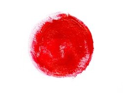 Red gouache hand painted circle isolated on white