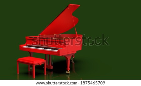 Red Grand Piano under Dark Green Background. 3D illustration. 3D high quality rendering. 3D CG. Foto d'archivio ©