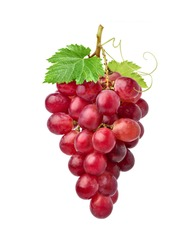 Red grape cluster with green leaves isolated on white background.