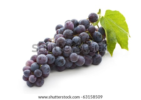 Red grape with green leaf, isolated on white background