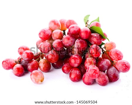 Red grape with leaf isolated on white background #145069504