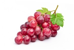 Red grape with leaves isolated on white background.