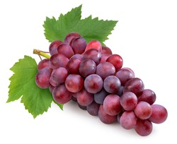 Red grape with leaves isolated on white, Bunch of fresh red juicy grapes isolated on white, With clipping path.