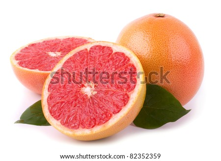 Red grapefruit isolated on white background
