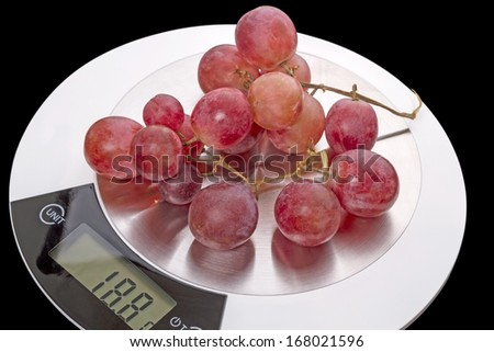 Red grapes on digital kitchen scales