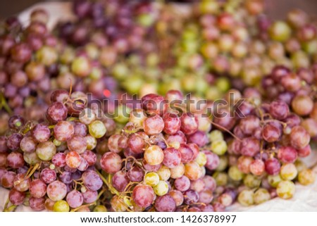 Red grapes, red grapes, are sold in Sunday bazaar , grapes are delicious, grapes are used to make wine