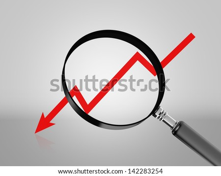 Red graph arrow move down with magnifying glass.